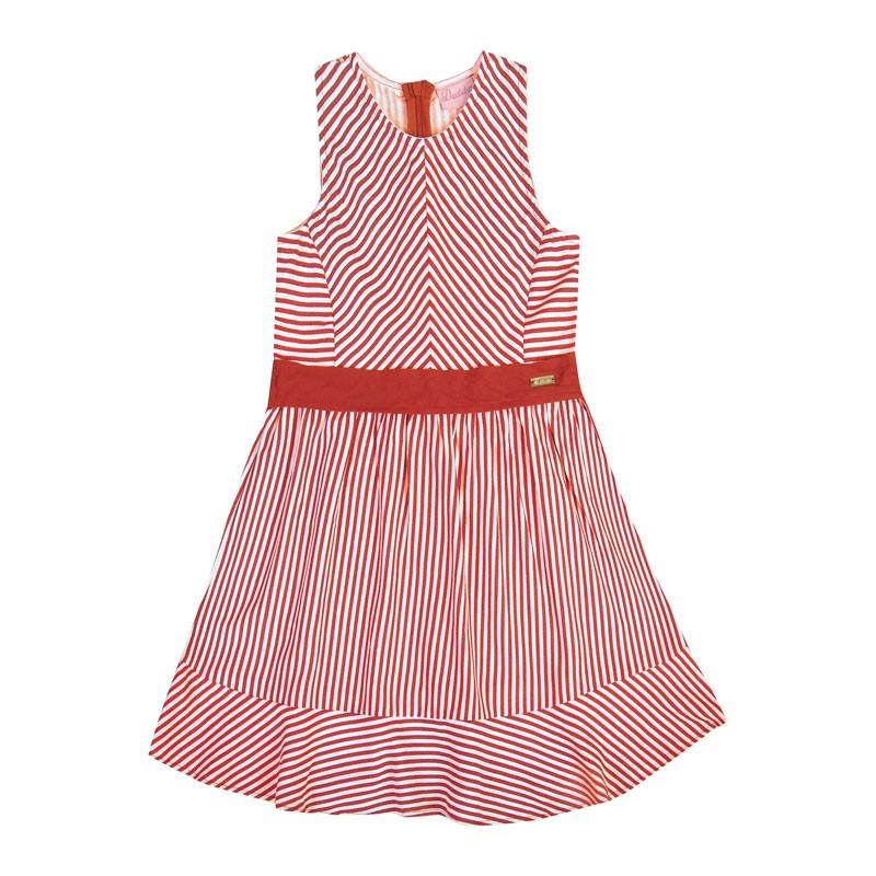 Vestido Infantil Menina Listrado Vermelho
