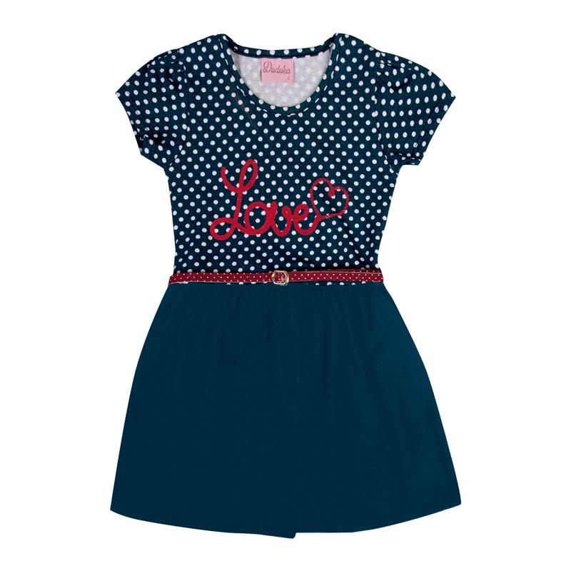 Vestido Infantil Menina Love  Azul