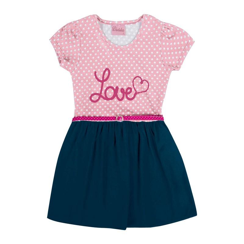 Vestido Infantil Menina Love Rosa