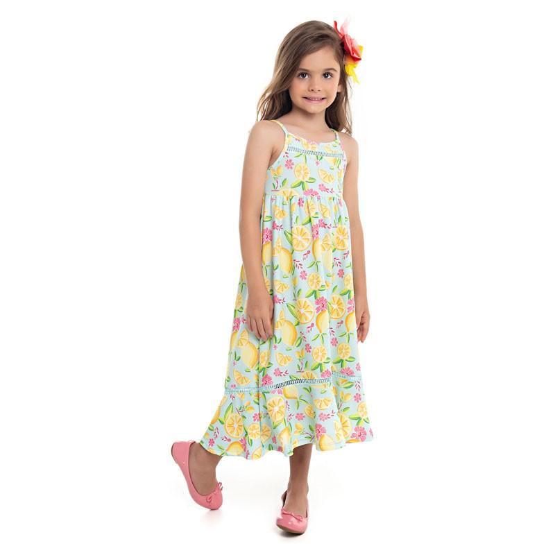 Vestido Paytê Infantil Menina Midi Azul