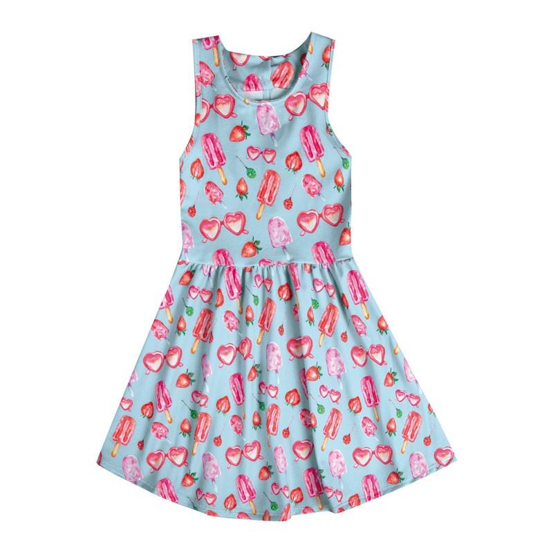 Vestido Infantil Menina Picolé Azul