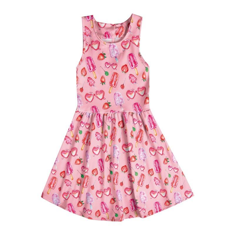 Vestido Infantil Menina Picolé Rosa