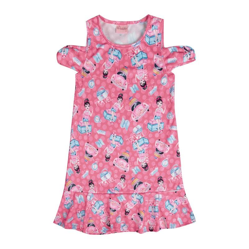 Vestido Infantil Menina Travel Rosa