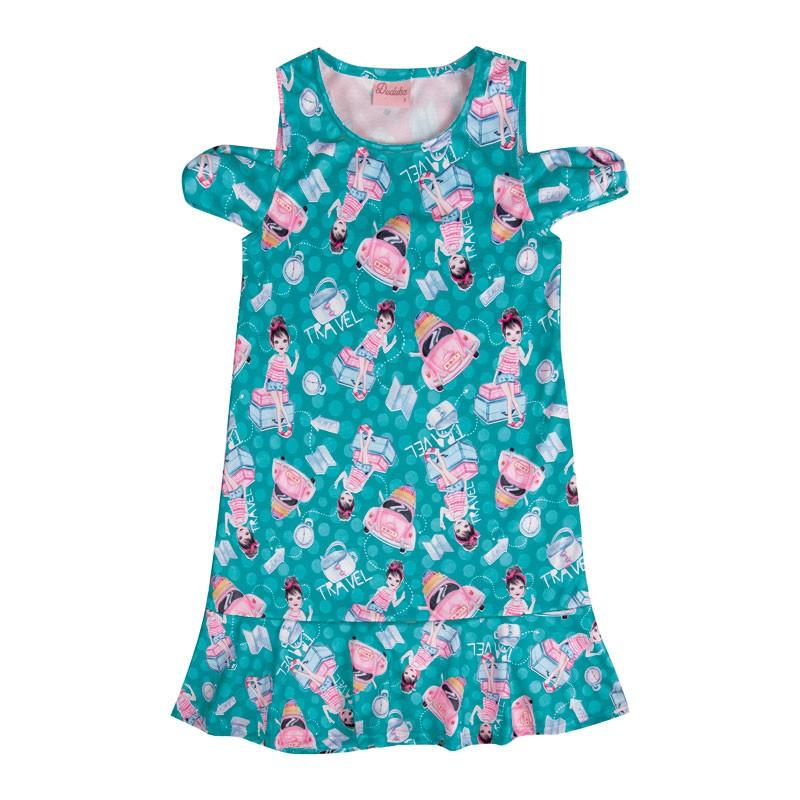 Vestido Infantil Menina Travel Verde
