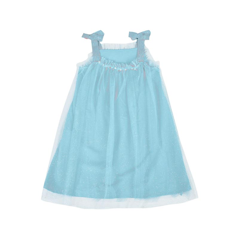 Vestido Paytê Infantil Menina Tule Glitter Azul