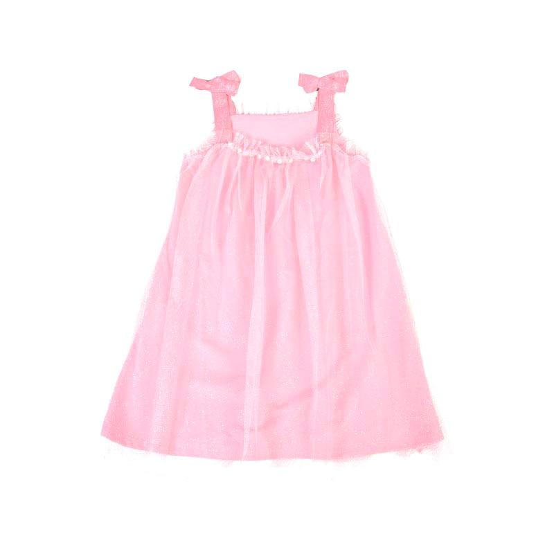 Vestido Infantil Menina Tule Glitter Rosa