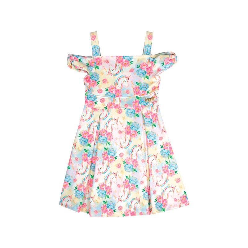 Vestido Infantil Menina Unicórnio Bege