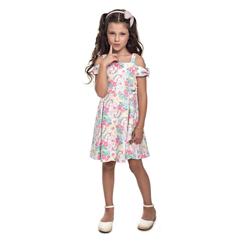 Vestido Paytê Infantil Menina Unicórnio Bege
