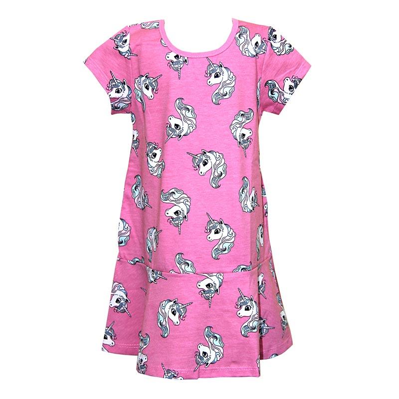 Vestido Infantil Menina Unicórnio Rosa
