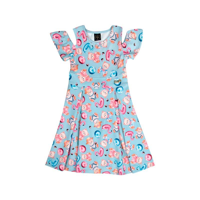 Vestido Infantil Menina Ursinho Azul