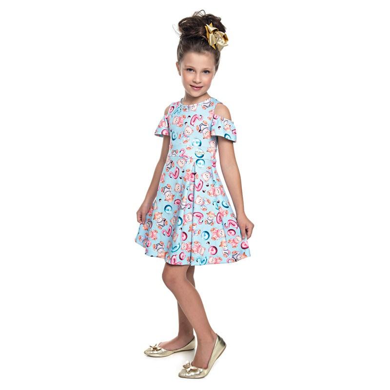 Vestido Paytê  Infantil Menina Ursinho Azul