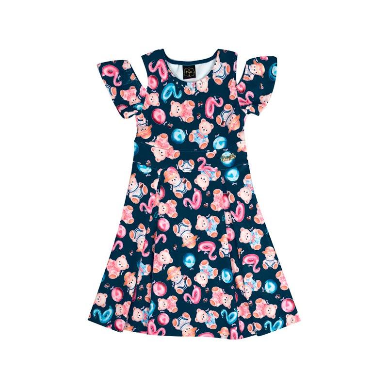 Vestido Infantil Menina Ursinho Azul Marinho