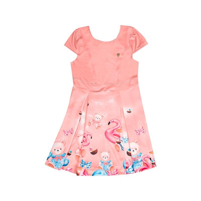 Vestido Paytê Infantil Menina Ursinho Salmão