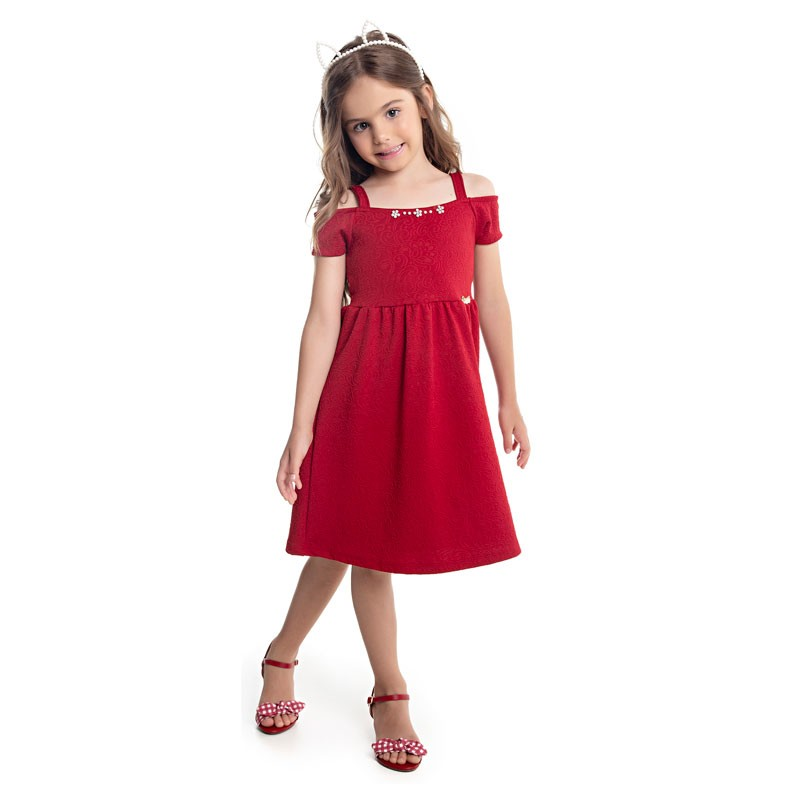 Vestido Paytê Infantil Menina  Vermelho