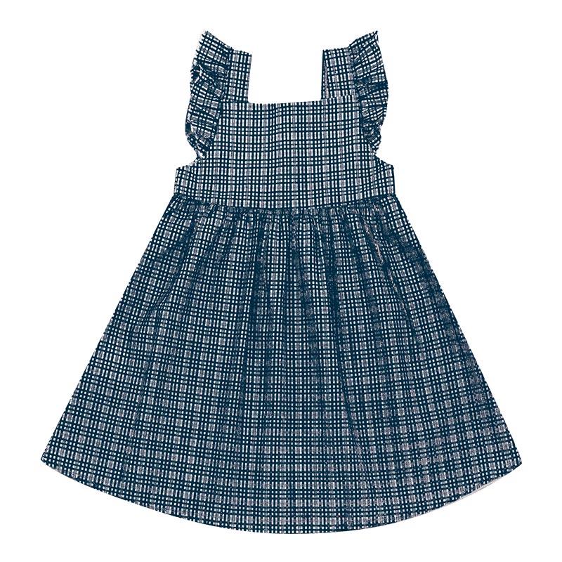 Vestido Infantil Menina Xadrez Azul