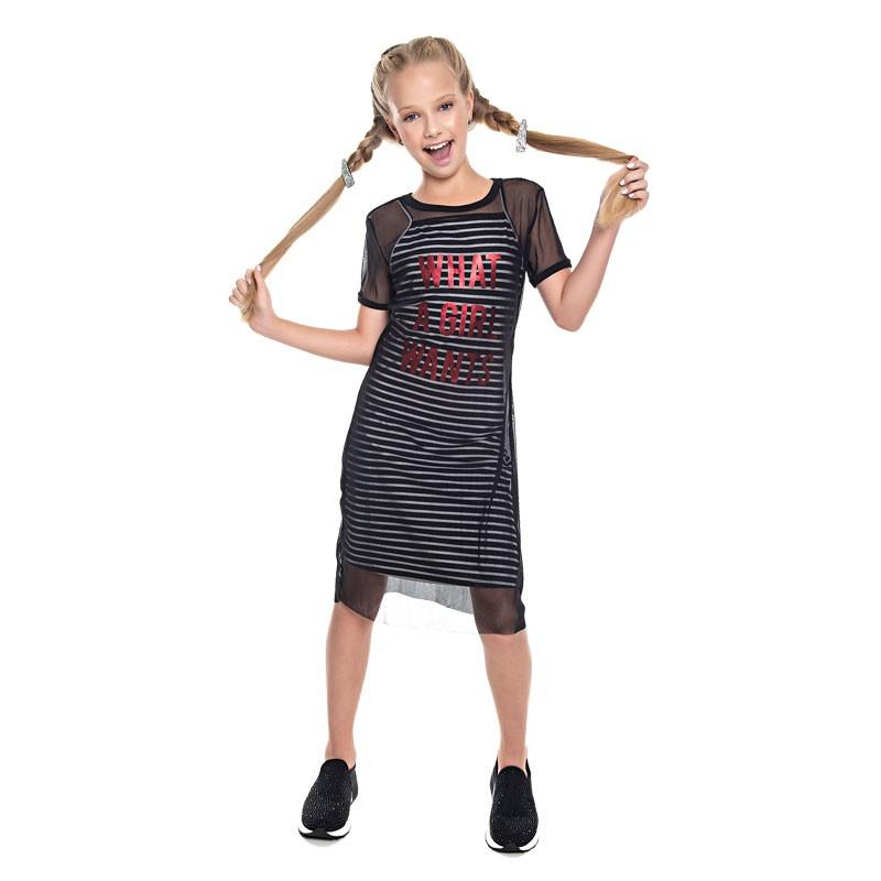 Vestido Paytê Juvenil Menina Listrado Preto