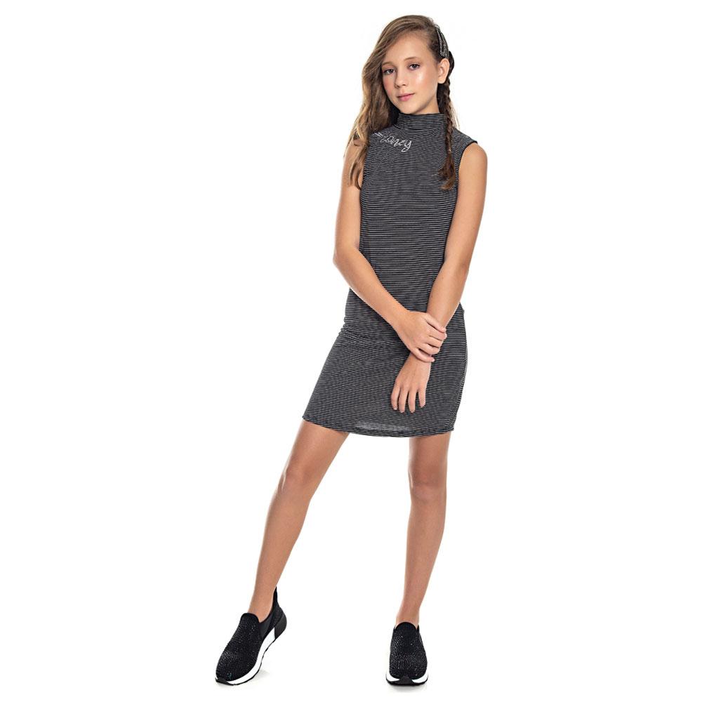 Vestido Juvenil Menina Listrado  Preto