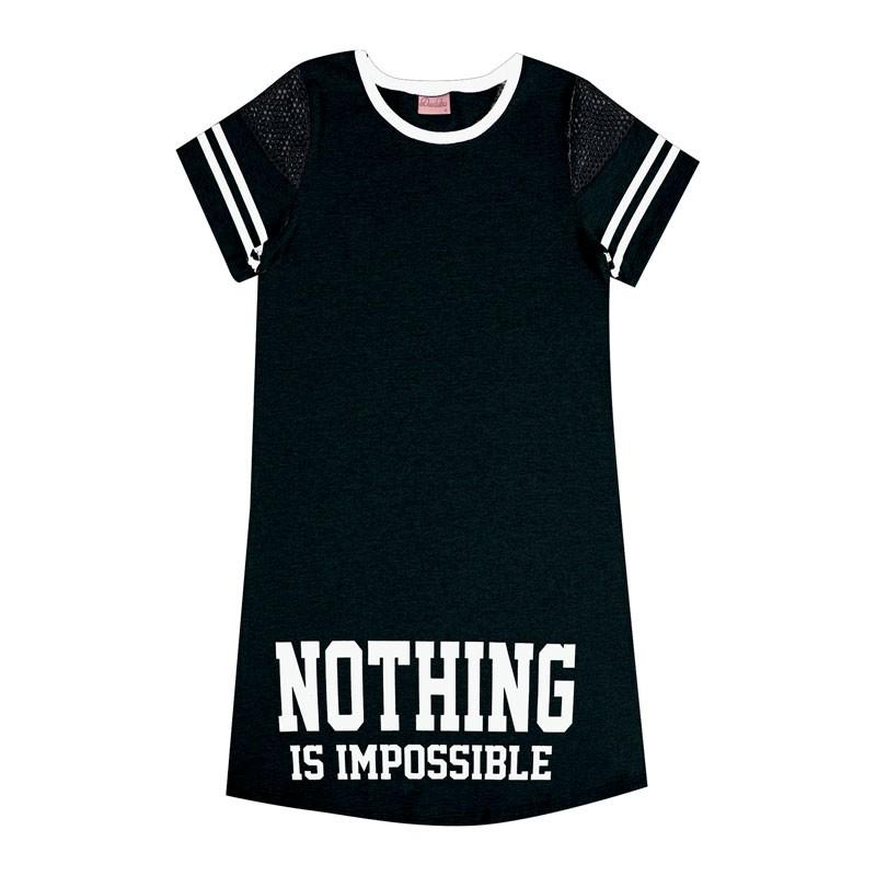 Vestido Juvenil Menina Nothing Is Impossible Preto