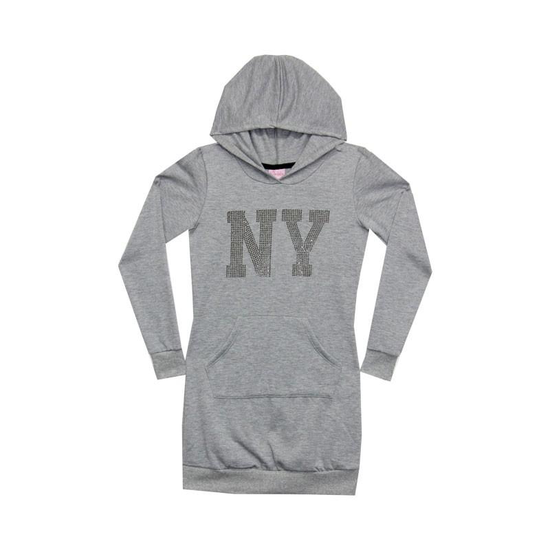 Vestido Juvenil Menina NY Cinza