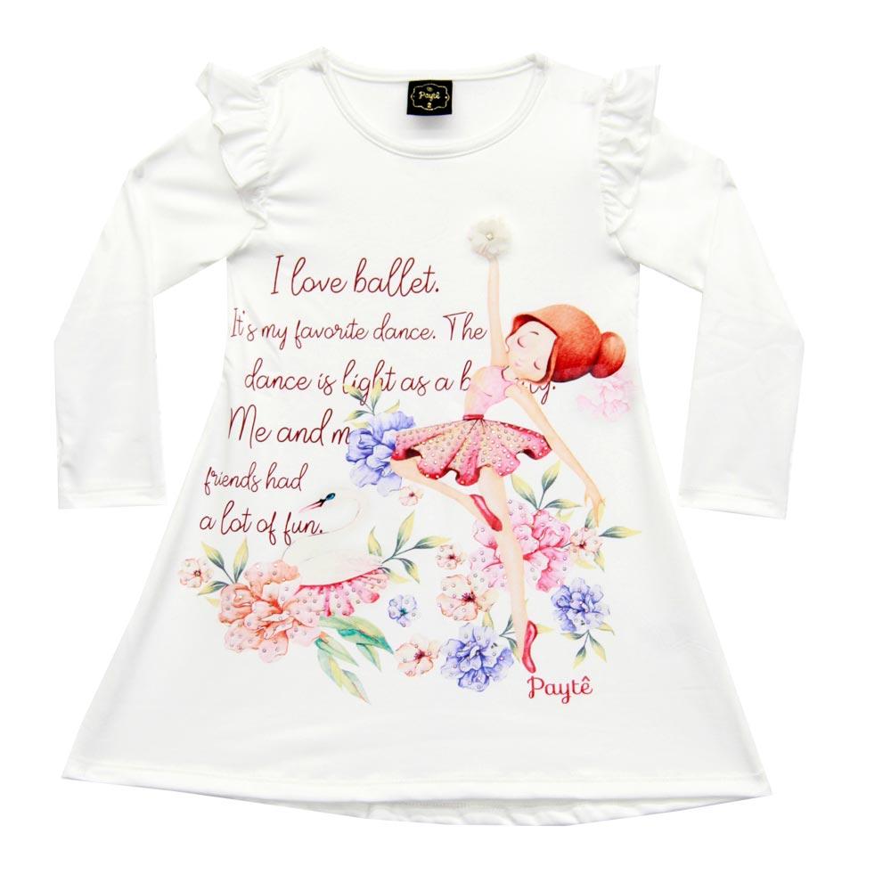 Vestido Paytê Infantil Menina Bailarina Bege