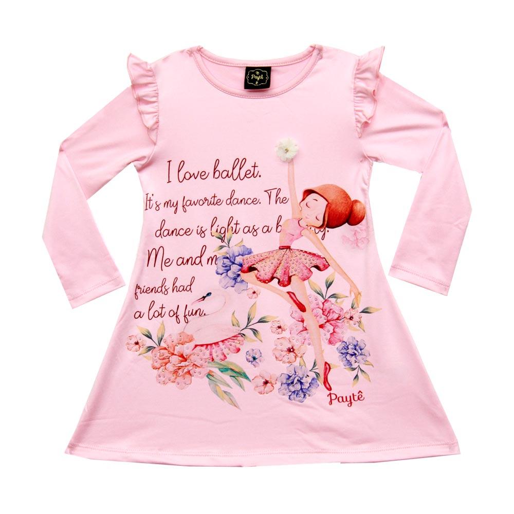 Vestido Paytê Infantil Menina Bailarina Rosa