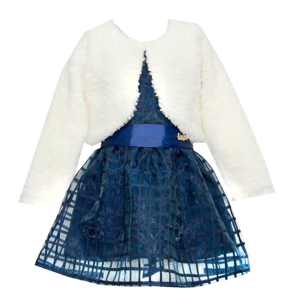 Vestido Paytê Infantil Menina Festa com Bolero Azul