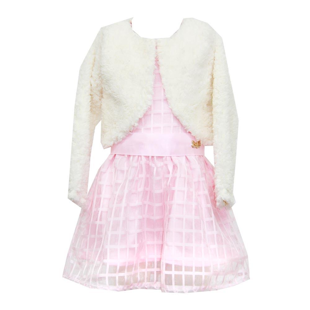 Vestido Paytê Infantil Menina Festa com Bolero Rosa