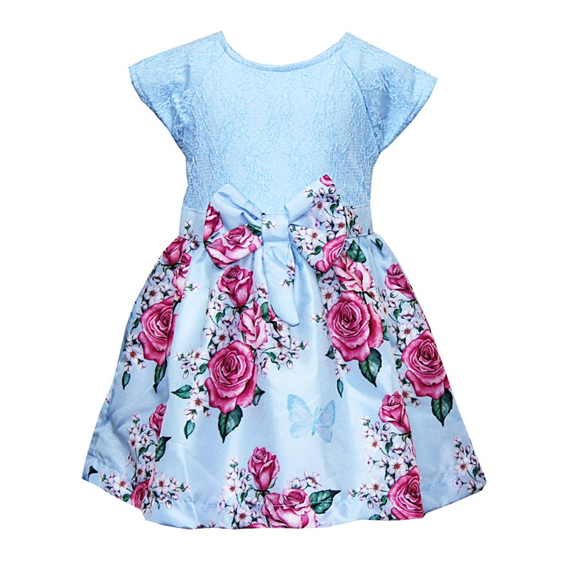 Vestido Paytê Infantil Menina  Flores Azul