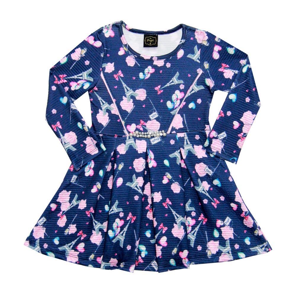 Vestido Paytê Infantil Menina Paris Azul