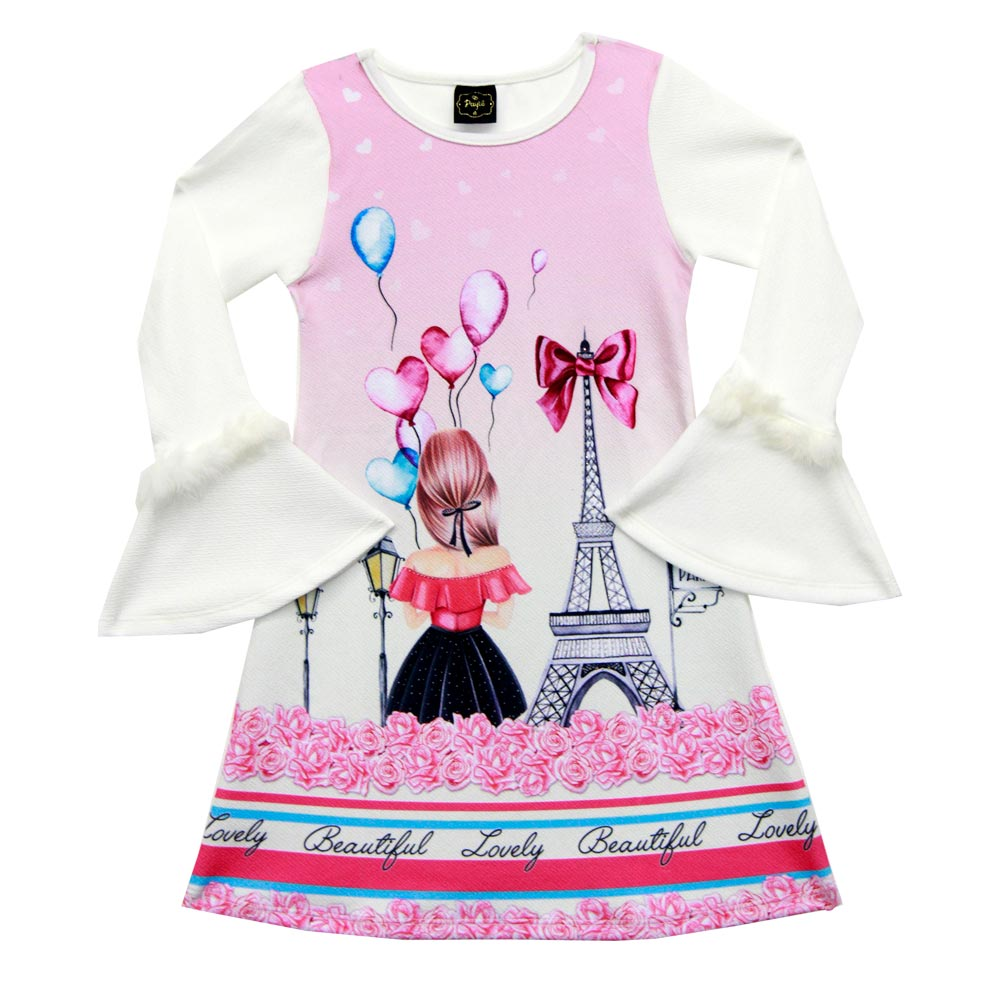 Vestido Paytê Infantil Menina Paris Bege