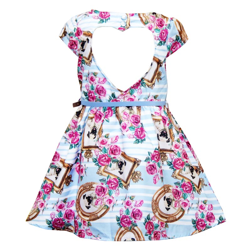 Vestido Paytê Infantil Menina Pug  Azul