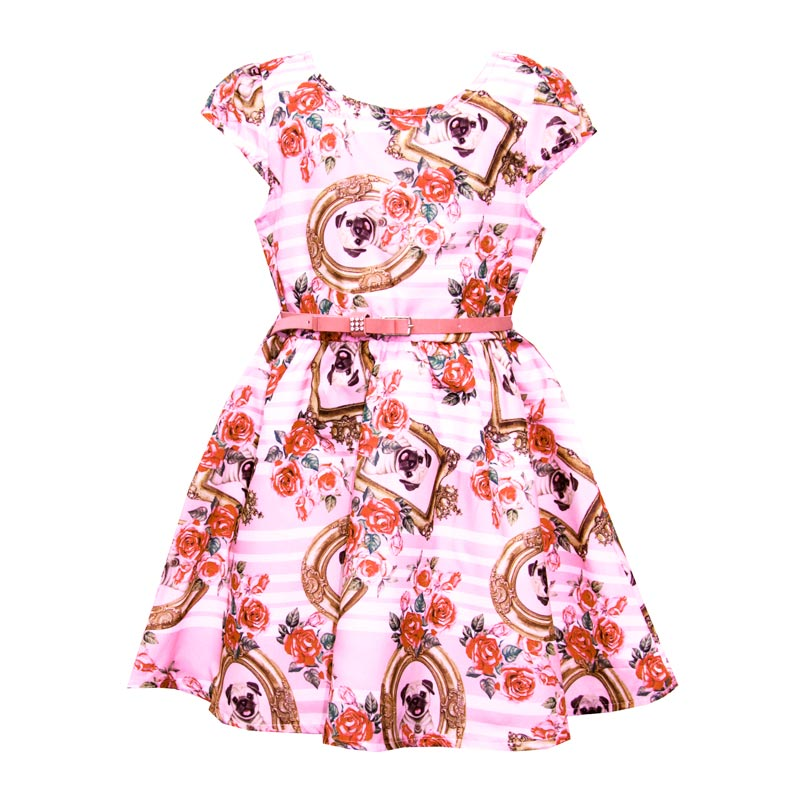Vestido Paytê Infantil Menina Pug  Rosa
