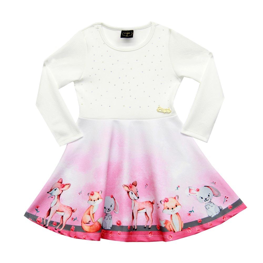 Vestido Paytê Infantil Menina Raposa Bege
