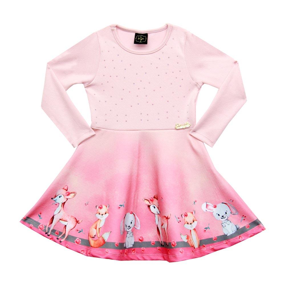 Vestido Paytê Infantil Menina Raposa Rosa