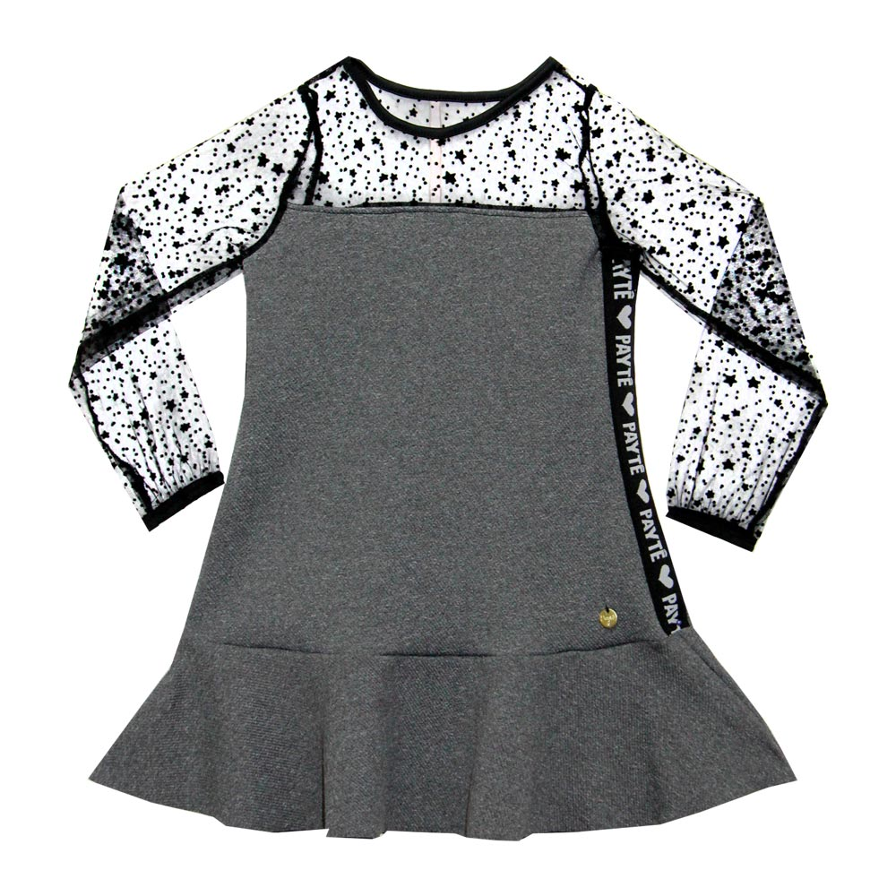 Vestido Paytê Infantil Menina Tule Cinza