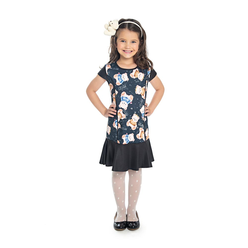 Vestido Paytê Infantil Menina Ursinho Preto
