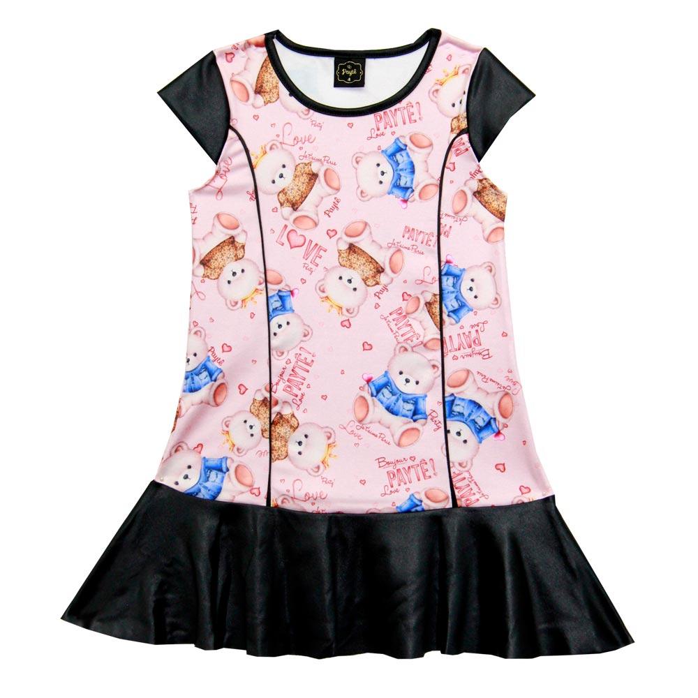 Vestido Paytê Infantil Menina Ursinho Rosa