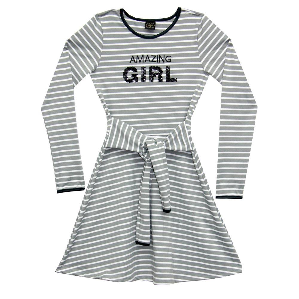 Vestido Paytê Juvenil Menina Listrado Cinza