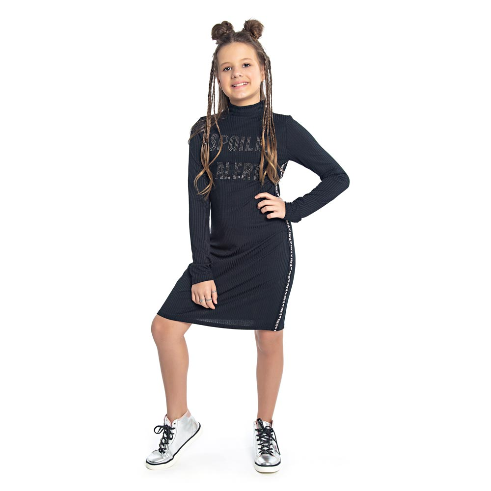 Vestido Paytê Juvenil Menina Spoiler Alert Preto