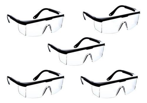 5 Óculos Segurança Proteção Epi Convencional Rj Incolor