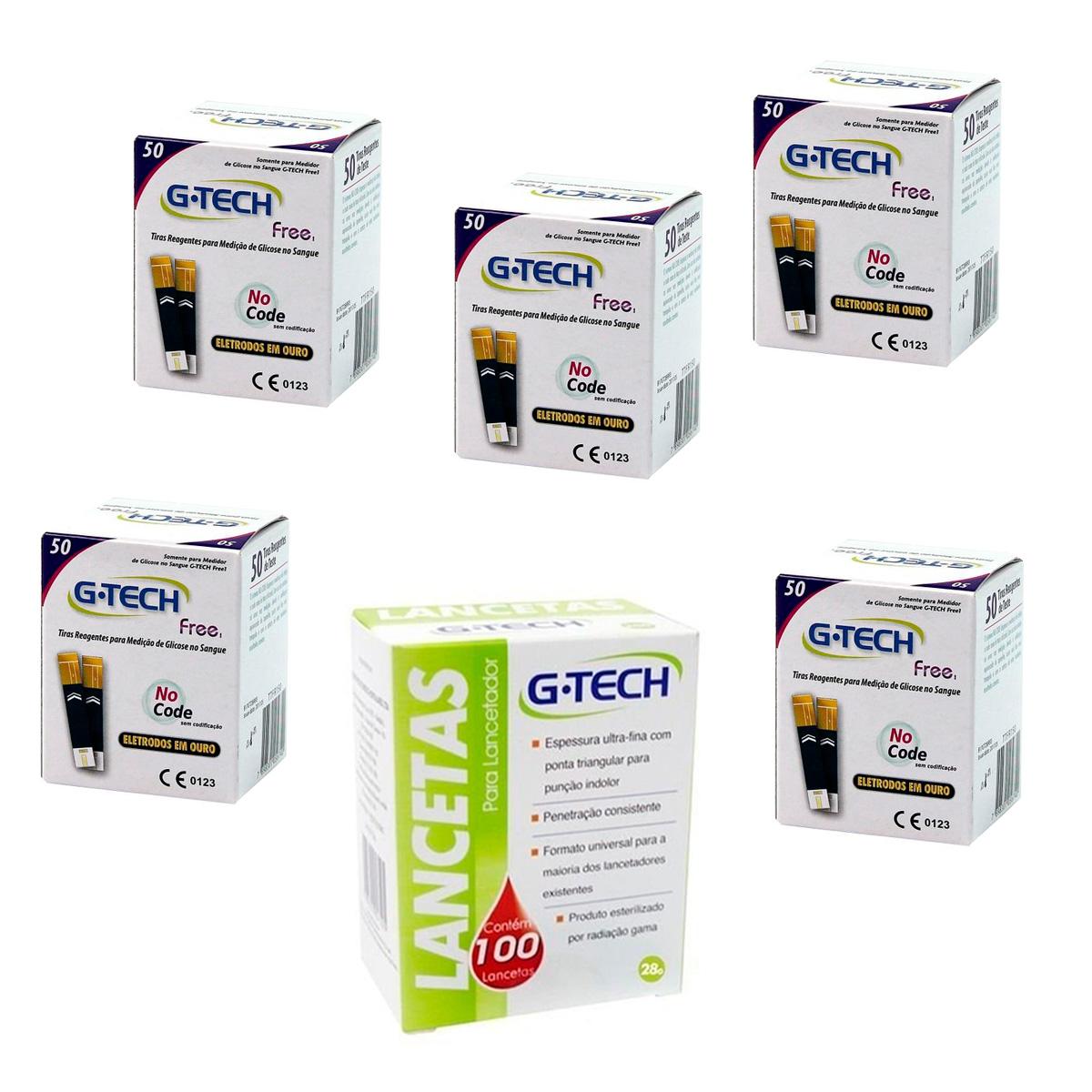 5 Tiras Reagentes G-tech Free + Brinde