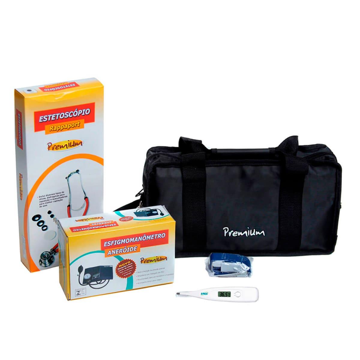 Aparelho de pressão com estetoscópio rappaport, termômetro e bolsa - kit acadêmico Premium para Enfermagem