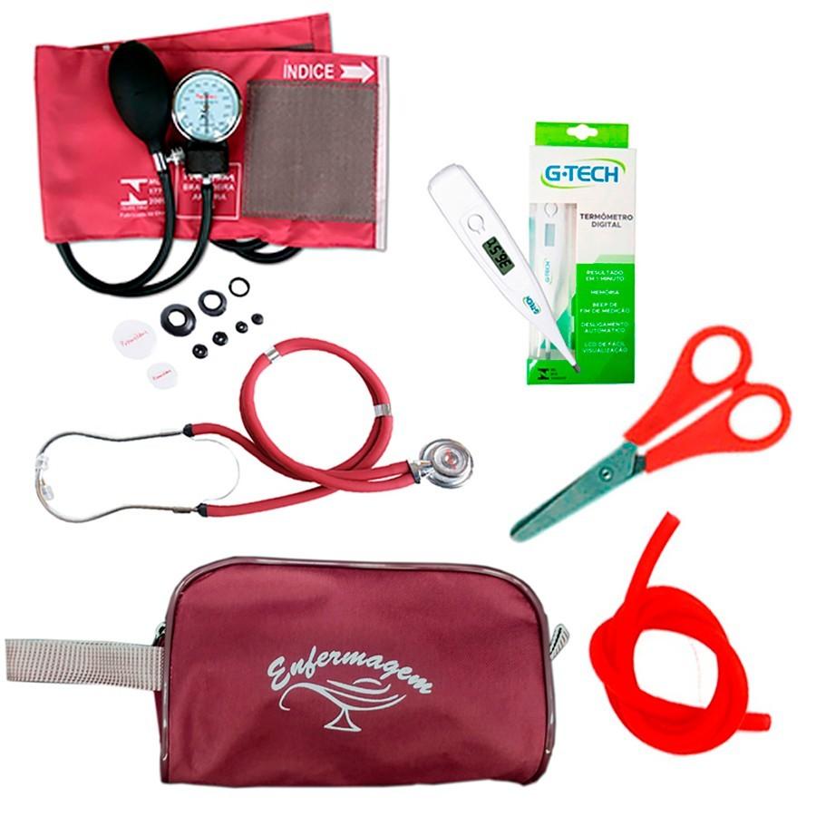 Kit Basic para Enfermagem com Aparelho de Pressão e Estetoscópio Duplo Rappaport