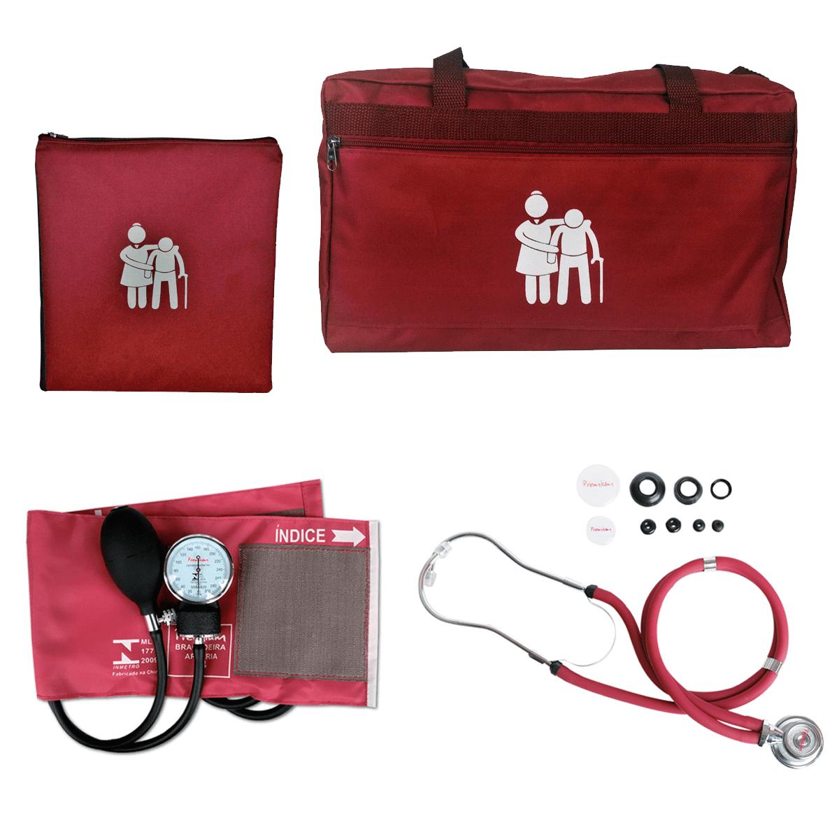 Kit Cuidador de Idosos com Bolsa, Porta Jaleco e Aparelho de Pressão Premium