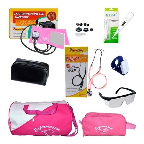 Kit De Enfermagem Aparelho De Pressão Rosa - Premium