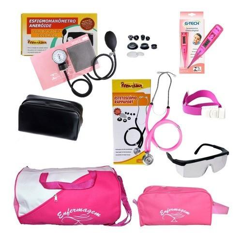 Kit De Enfermagem Com Medidor De Pressão E Estetoscópio Rosa