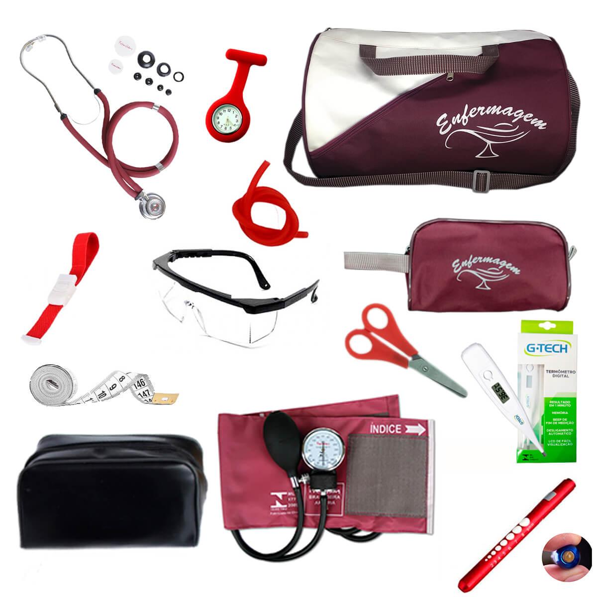 Kit de enfermagem completo com medidor de pressão Premium