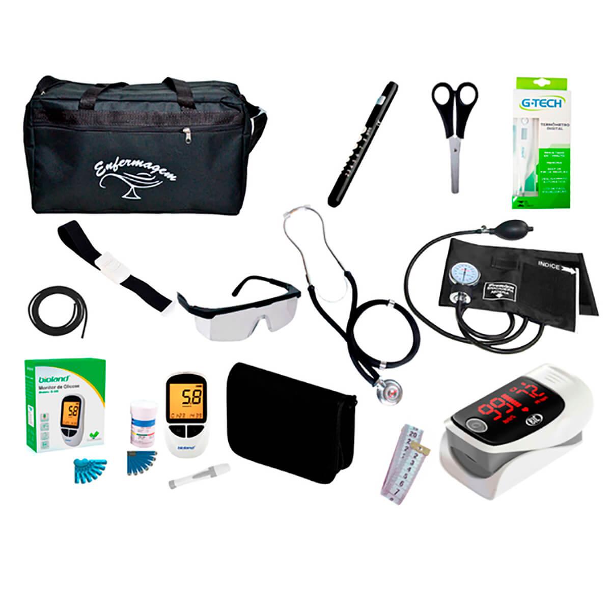 Kit de Enfermagem Super Luxo com Aparelho de Pressão Preto Premium c/ Bolsa tipo 2