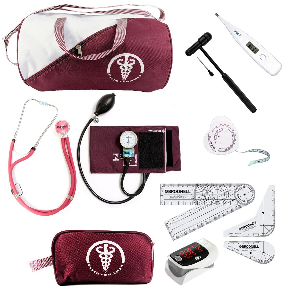 Kit De Fisioterapia Goniometro Martelo Buck Black Oximetro