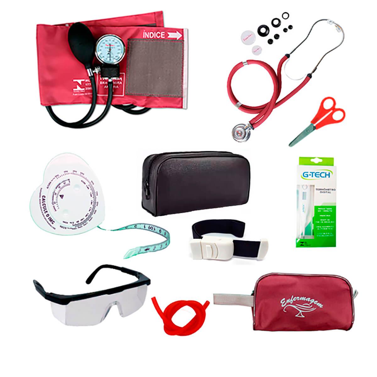 Kit enfermagem com aparelho de pressão Premium e acessórios